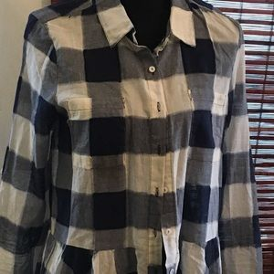 NWOT DYLAN blue and white checked blouse
